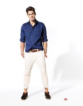 NAGAB: chemise coton 39,99¤ NOVIT: pantalon coton 55,99¤ NIGANSE: ceinture cuir et coton 19,99¤ NYINDIEN: bateau suède 59.99¤