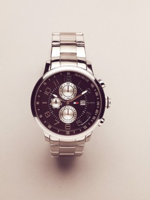 Round Stainless Steel Multi-Eyed Men's Watch / Silver-Black