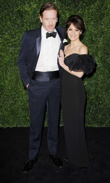 damien lewis wearing burberry and helen mccrory at the 58th london evening standard theatre awards in association with burberry