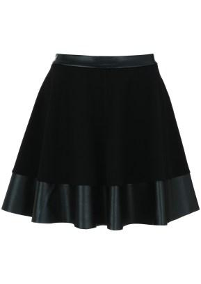 black leather_lycra skirt