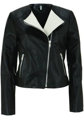 blk & wht leather jacket