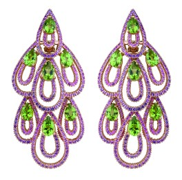 Damiani - Drip Drop masterpiece - pink gold earrings with sapphires and tsavorite 20054843