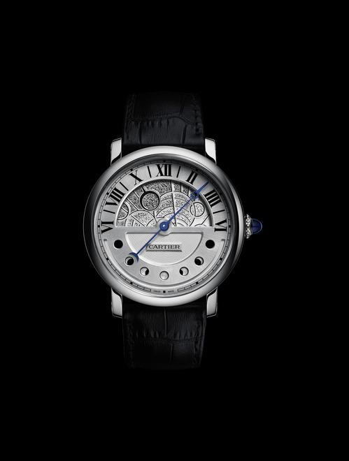 Montre Rotonde de Cartier Jour et Nuit Indicateurs jour et nuit avec phases de lune rétrogrades, calibre 9912 MC
