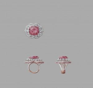 Or rose, diamants ronds, tailles poire et baguette, diamants roses, un saphir rose taille coussin de 28,96 carats (origine : Sri Lanka).