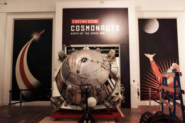 Part of the LK-3 lunar lander is moved through the Science Museum for the upcoming Cosmonauts exhibition. Credit - Visitlondon.com and London & Partners