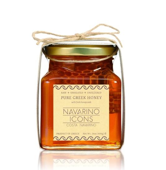 Pure Greek Honey with fresh honeycomb