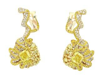 BOUCLES D'OREILLES FRONCE DIAMANT JAUNE750/1000e or jaune, diamants et diamants jaunes