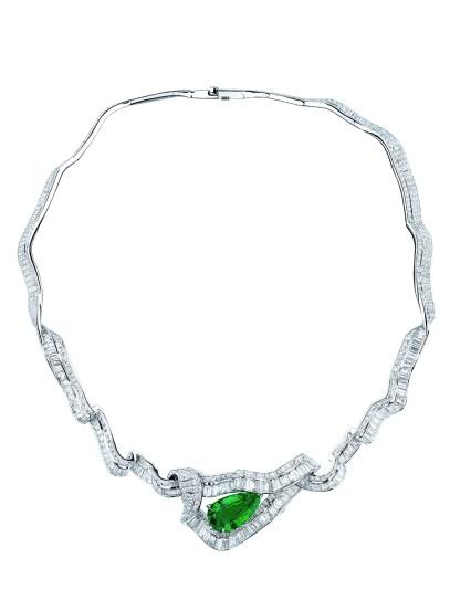 COLLIER NOUÉ ÉMERAUDE JCAD93026 750/1000e or blanc, diamants et émeraude