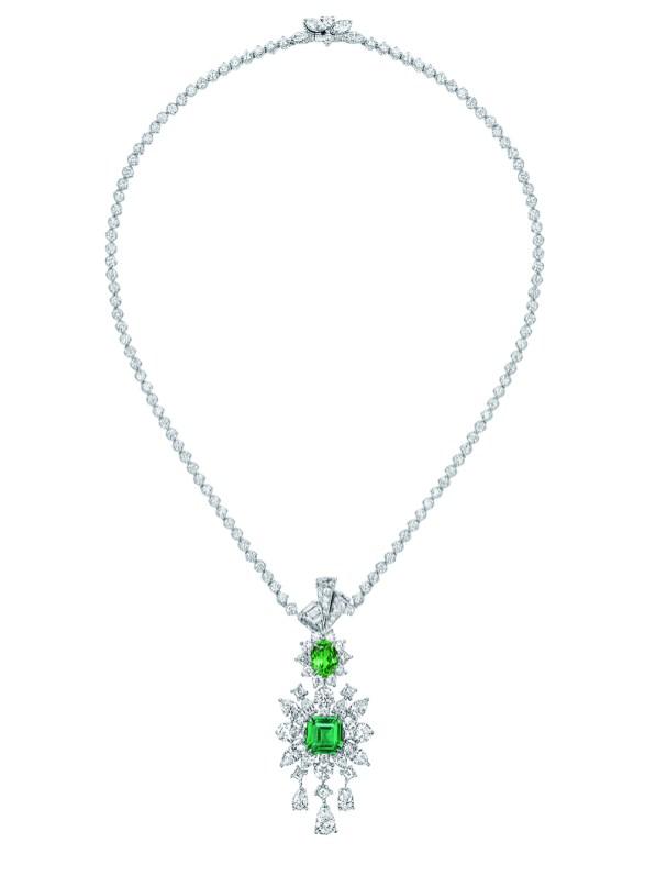 COLLIER PLUMETIS ÉMERAUDE JCAD93047 750/1000e or blanc, diamants, émeraude et grenat tsavorite