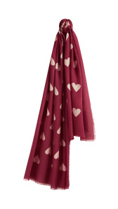 104. Heart Print Cashmere Scarf - Plum Pink_Stone