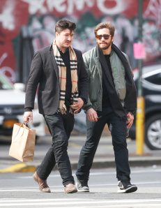 NON EXCLUSIVE / NO NYC PAPERS SALES March 16Th 2015: Jake Gyllenhaal and Marcus Mumford seen taking a walk together in Tribeca in New York City, USA. MANDATORY CREDIT Pictures by Dave Spencer