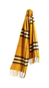 The Classic Cashmere Scarf in Check - Amber Yellow