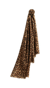 The Lightweight Cashmere Scarf in Animal Print - Camel