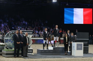 03/12/2015 ; Paris Villepinte ; ; Sunday CSI5 1m60 Grand Prix Longines ; presentation ; 38, Lacrimoso 3 HDC, DELAVEAU Patrice ; Sportfot