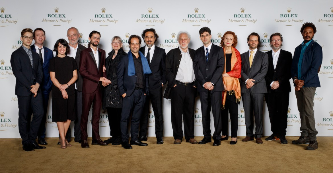 The Rolex Mentor and Protégé Arts Initiative, Closing Ceremony 2014-2015, Centro Cultural del Bosque, Mexico, December 6, 2015. Group picture of the mentors and protégés. From left to right : Myles Thatcher, Alexei Ratmansky, Dance, Gloria Cabral, Peter Zumthor, Architecture, Sebastián Solórzano Rodríguez, Jennifer Tipton, Theatre, Tom Shoval, Alejandro González Iñárritu, Film, Michael Ondaatje, Miroslav Penkov, Literature, Kaija Saariaho, Vasco Mendonça, Music, Olafur Eliasson, Sammy Baloji, Visual Arts