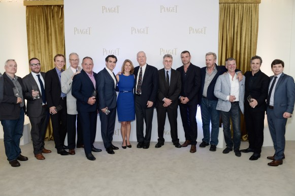 SANTA MONICA, CA - FEBRUARY 27: (L-R) Casting director Paul Schnee, actors Michael Cyril Creighton, Neal Huff, abuse survivor Phil Saviano, actors Paul Guilfoyle, Brian d'Arcy James, reporter Sacha Pfeiffer, reporter Walter V. Robinson, newspaper editor Martin Baron, actors Liev Schreiber, Jamey Sheridan, casting director Kerry Barden, actor Mark Ruffalo and reporter Michael Rezendes attend the 2016 Film Independent Spirit Awards sponsored by Piaget on February 27, 2016 in Santa Monica, California. (Photo by Stefanie Keenan/Getty Images for Piaget) *** Local Caption *** Martin Baron;Michael Cyril Creighton;Neal Huff;Paul Schnee;Phil Saviano;Paul Guilfoyle;Brian d'Arcy James;Sacha Pfeiffer;Walter V. Robinson;Liev Schreiber;Jamey Sheridan;Kerry Barden;Mark Ruffalo;Michael Rezendes