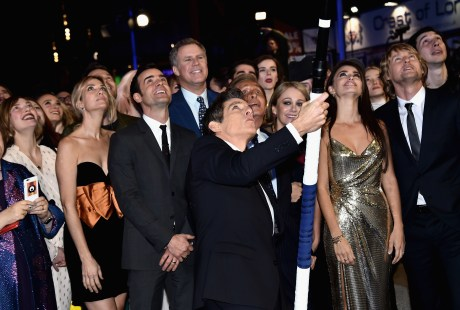 "LONDON, ENGLAND - FEBRUARY 04: Ben Stiller (C) with cast and guests attempt a record breaking selfie during a London Fan Screening of the Paramount Pictures film ""Zoolander No. 2"" at the Empire Leicester Square on February 4, 2016 in London, England. (Photo by Gareth Cattermole/Getty Images for Paramount Pictures) *** Local Caption *** Ben Stiller;Valentino;Christine Taylor;Penelope Cruz;Owen Wilson"