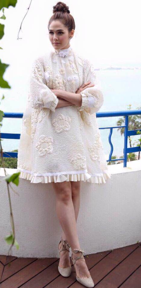 "Thai Movie star Araya "" Chompoo"" A.Hargate in a white embroidered FENDI dress from the FENDI Prefall 2016 Collection during the 69th Cannes Film Festival"