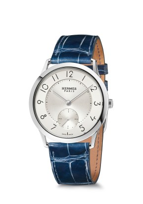 Hermes_Other new products Baselworld 2016_Slim d'Hermes_Pictures_Products_Press_Slim d'Hermes 39 manufacture_acier-steel_sapphire blue®Calitho