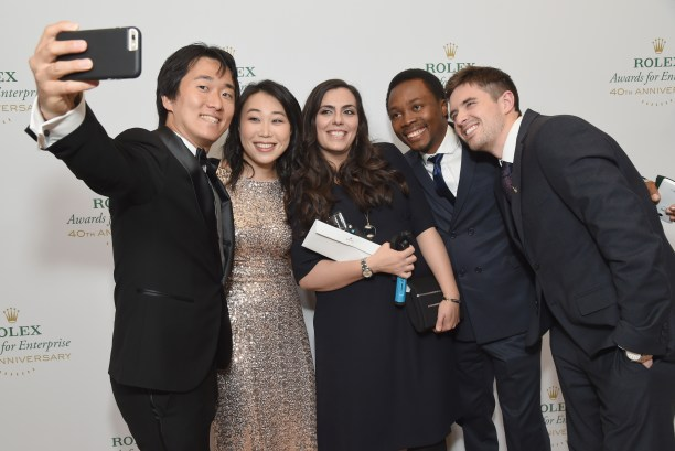 HOLLYWOOD, CA - NOVEMBER 15: Young Laureates (L-R) Junto Ohki, Christine Keung, Sarah Toumi, Oscar Ekponimo and Joseph Cook attend the 2016 Rolex Awards For Enterprise at the Dolby Theatre on November 15, 2016 in Hollywood, California. (Photo by Michael Kovac/Getty Images for Rolex Awards for Enterprise )