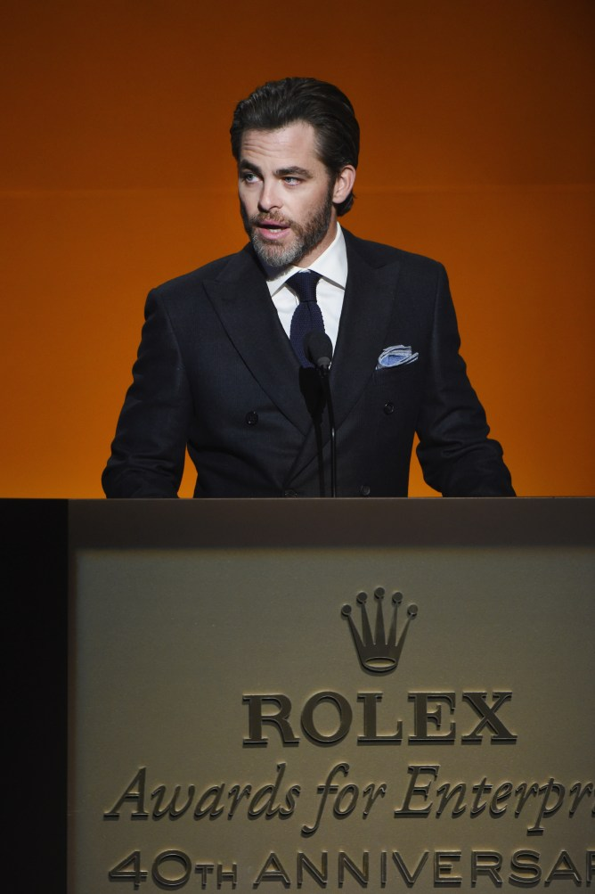 HOLLYWOOD, CA - NOVEMBER 15: Actor/presenter Chris Pine speaks onstage during the 2016 Rolex Awards For Enterprise at the Dolby Theatre on November 15, 2016 in Hollywood, California. (Photo by Michael Kovac/Getty Images for Rolex Awards for Enterprise )