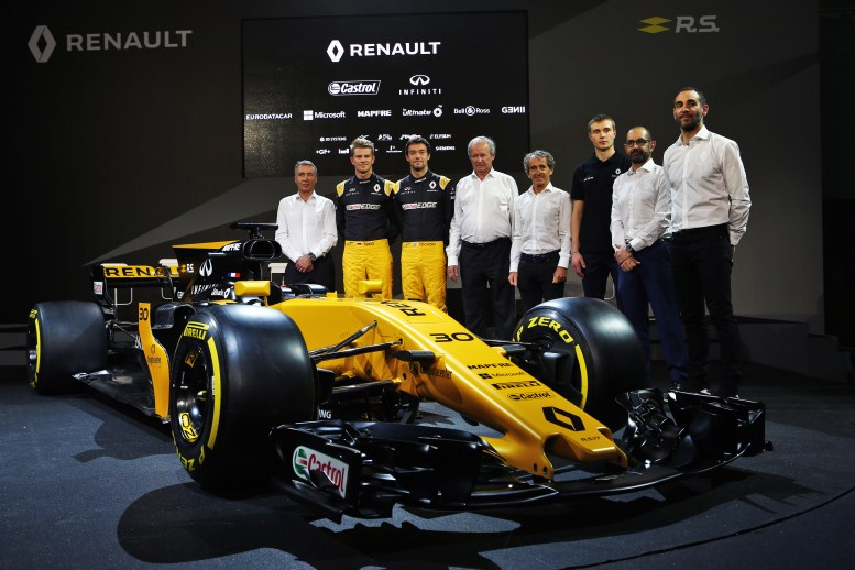 (L to R): Bob Bell (GBR) Renault Sport F1 Team Chief Technical Officer; Nico Hulkenberg (GER) Renault Sport F1 Team; Jolyon Palmer (GBR) Renault Sport F1 Team; Jerome Stoll (FRA) Renault Sport F1 President; Alain Prost (FRA); Sergey Sirotkin (RUS) Renault Sport F1 Team Third Driver; Thierry Koskas, Renault Executive Vice President of Sales and Marketing; Cyril Abiteboul (FRA) Renault Sport F1 Managing Director, and the Renault Sport F1 Team RS17. Renault Sport Formula One Team RS17 Launch, Royal Horticultural Society Headquarters, London, England. Tuesday 21st February 2017.