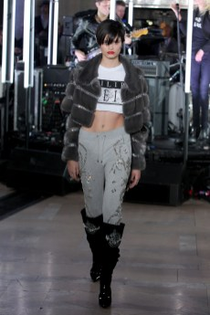 NEW YORK, NY - FEBRUARY 13: A model walks the runway wearing look # 48 for the Philipp Plein Fall/Winter 2017/2018 Women's And Men's Fashion Show at The New York Public Library on February 13, 2017 in New York City. (Photo by Thomas Concordia/Getty Images for Philipp Plein)