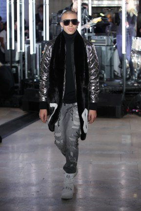 NEW YORK, NY - FEBRUARY 13: A model walks the runway wearing look #51 for the Philipp Plein Fall/Winter 2017/2018 Women's And Men's Fashion Show at The New York Public Library on February 13, 2017 in New York City. (Photo by Thomas Concordia/Getty Images for Philipp Plein)