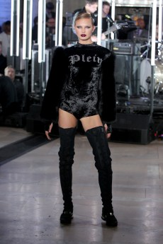 A model walks the runway wearing look # for the Philipp Plein Fall/Winter 2017/2018 Women's And Men's Fashion Show at The New York Public Library on February 13, 2017 in New York City.