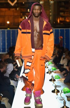 PARIS, FRANCE - MARCH 06: (LOOK 38) A model walks the runway during FENTY PUMA by Rihanna Fall / Winter 2017 Collection at Bibliotheque Nationale de France on March 6, 2017 in Paris, France. (Photo by Kristy Sparow/Getty Images for Fenty Puma)