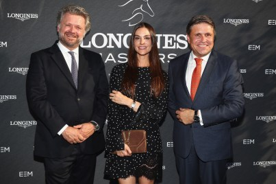 NEW YORK, NY - MAY 17: (L-R) Christophe Ameeuw, Founder and CEO of EEM, Ariana Rockefeller, and Juan-Carlos Capelli, Longines Vice President and Head of International Marketing attend the Longines Masters launch party celebrating Series' epic move to New York at Salon de Ning on May 17, 2017 in New York City. (Photo by Astrid Stawiarz/Getty Images for Longines)