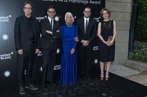 MADRID, SPAIN - MAY 04: Antonio Recoder, Sam Bardaouil, Soledad Lorenzo, Till Fellrath and Paloma Garcia Moreno attend Montblanc de la Culture Arts Patronage Award at the Madrid Palacio Liria on May 4, 2017 in Madrid, Spain. (Photo by Carlos Alvarez/Getty Images for Montblanc)