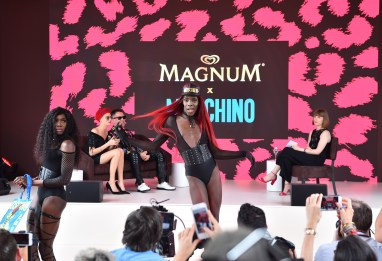 EDITORIAL USE ONLY DJ Kiddy Smile and his voguers perform during a press conference to unveil the Magnum x Moschino bag capsule collection in celebration of Magnum Double ice cream in Cannes, France. PRESS ASSOCIATION Photo. Picture date: Thursday May 18, 2017. Photo credit should read: Matt Crossick/PA Wire