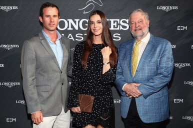 NEW YORK, NY - MAY 17: (L-R) Matthew Bucklin, Ariana Rockefeller, and David Rockefeller Jr. attend the Longines Masters launch party celebrating Series' epic move to New York at Salon de Ning on May 17, 2017 in New York City. (Photo by Astrid Stawiarz/Getty Images for Longines)