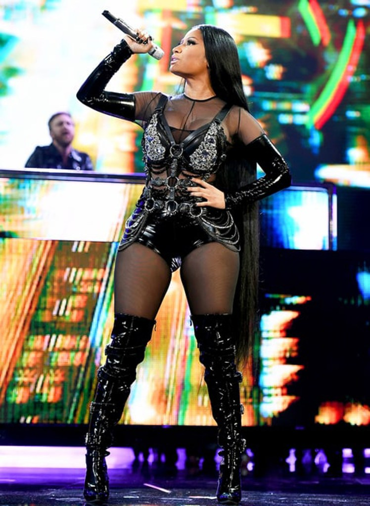 Nicki Minaj Slayed In ON AURA TOUT VU crystal harness During Her BBMAs Performance