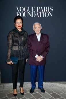 PARIS, FRANCE - JULY 04: (R) Charles Aznavour and guest attend the Vogue Foundation Dinner during Paris Fashion Week as part of Haute Couture Fall/Winter 2017-2018 at Musee Galliera on July 4, 2017 in Paris, France. (Photo by Julien Hekimian/Getty Images for Vogue) *** Local Caption *** Charles Aznavour