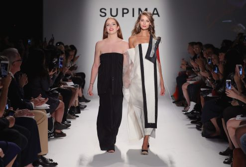 NEW YORK, NY - SEPTEMBER 07: (L-R) Winner Alyssa Wardrop, FIT and June Ambrose attend Supima Design Competition SS18 runway show during New York Fashion Week at Pier 59 on September 7, 2017 in New York City. (Photo by JP Yim/Getty Images for Supima Design Competition)