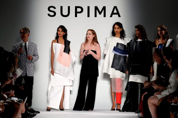NEW YORK, NY - SEPTEMBER 07: (L-R) Buxton Midyette and Winner Alyssa Wardrop, FIT attend Supima Design Competition SS18 runway show during New York Fashion Week at Pier 59 on September 7, 2017 in New York City. (Photo by JP Yim/Getty Images for Supima Design Competition)