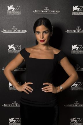 """VENICE, ITALY - AUGUST 31: (EDITOR'S NOTE: Image has been digitally retouched) Actress Rita Hayek of """"The Insult"""" wearing a Jaeger-LeCoultre Rendez-Vous Night & Day watch poses for a portrait during the 74th Venice Film Festival in the Jaeger-LeCoultre lounge at Hotel Excelsior on August 31, 2017 in Venice, Italy. (Photo by Ian Gavan/Getty Images for Jaeger-LeCoultre) *** Local Caption *** Rita Hayek"""