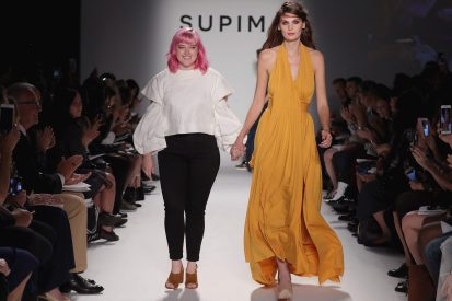 NEW YORK, NY - SEPTEMBER 07: Sarah Johnson, Kent State University walks the runway at Supima Design Competition SS18 during New York Fashion Week at Pier 59 on September 7, 2017 in New York City. (Photo by JP Yim/Getty Images for Supima Design Competition)