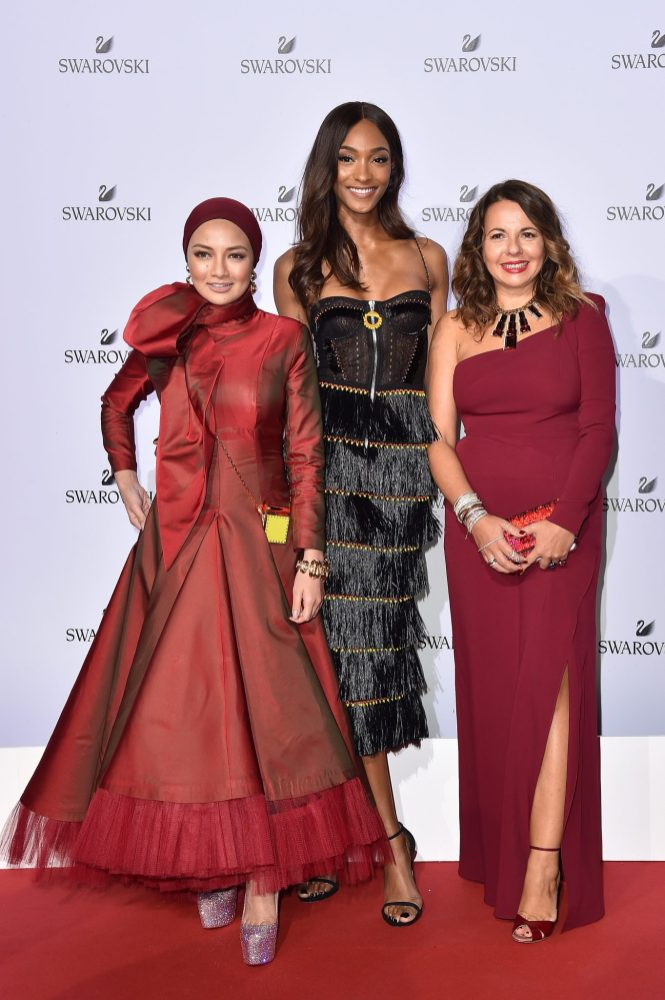 MILAN, ITALY - SEPTEMBER 20: Noor Neelofa Mohd Noor, Jourdan Dunn and Nathalie Colie attend Swarovski Crystal Wonderland Party on September 20, 2017 in Milan, Italy. (Photo by Jacopo Raule/Getty Images for Swarovski) *** Local Caption *** Noor Neelofa Mohd Noor; Jourdan Dunn; Nathalie Colie