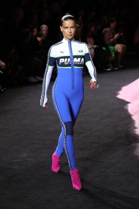 NEW YORK, NY - SEPTEMBER 10: Adriana Lima walks the runway wearing Look 56 at the FENTY PUMA by Rihanna Spring/Summer 2018 Collection at Park Avenue Armory on September 10, 2017 in New York City. (Photo by JP Yim/Getty Images for FENTY PUMA By Rihanna)