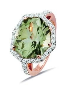 Gringoire Joaillier - ROSE - Bague Quartz vert et diamants - profil - BC2321QV-BTS