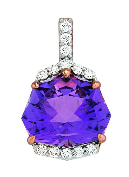 Gringoire Joaillier - ROSE - Pendentif Amethyste Rose de France et diamants - LT3104 AMBTS