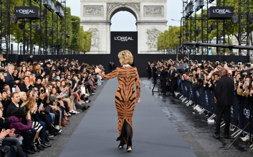 PARIS, FRANCE - OCTOBER 01: Jane Fondal walks the runway during Le Defile L'Oreal Paris as part of Paris Fashion Week Womenswear Spring/Summer 2018 at Avenue Des Champs Elysees on October 1, 2017 in Paris, France. (Photo by Pascal Le Segretain/Getty Images for L'Oreal Paris)