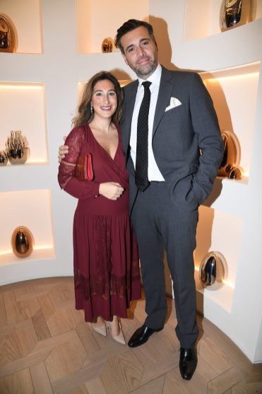 PARIS, FRANCE - NOVEMBER 23: Stephane Petrossian (R) and his wife attend Christofle Saint-Honore Boutique Opening on November 23, 2017 in Paris, France. (Photo by Pascal Le Segretain/Getty Images for Christofle) *** Local Caption *** Stephane Petrossian