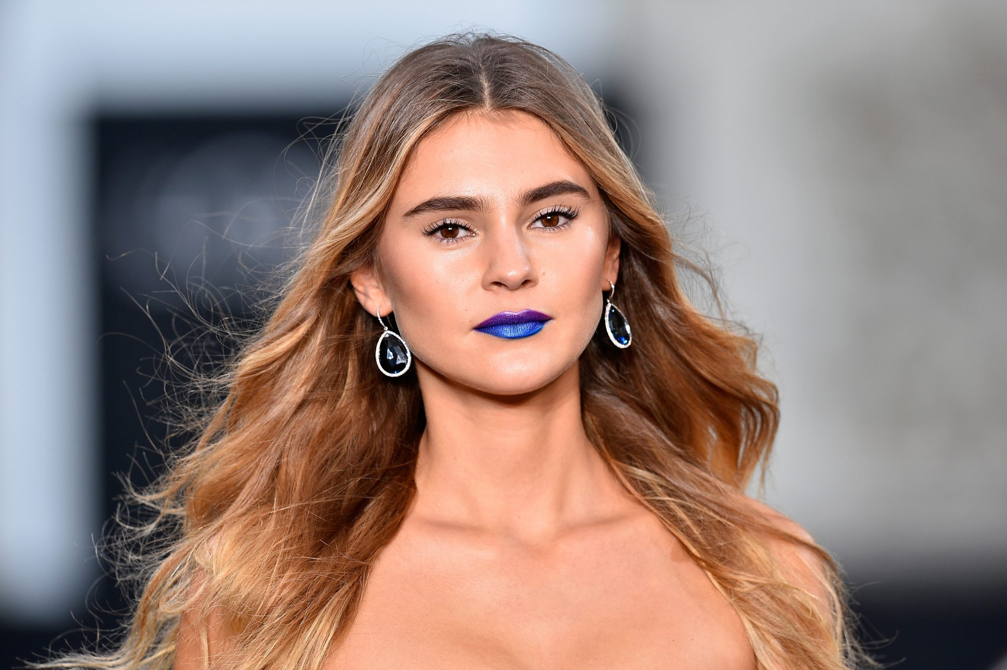 PARIS, FRANCE - OCTOBER 01: Stefanie Giesinger walks the runway during Le Defile L'Oreal Paris as part of Paris Fashion Week Womenswear Spring/Summer 2018 at Avenue Des Champs Elysees on October 1, 2017 in Paris, France. (Photo by Kristy Sparow/Getty Images for L'Oreal)