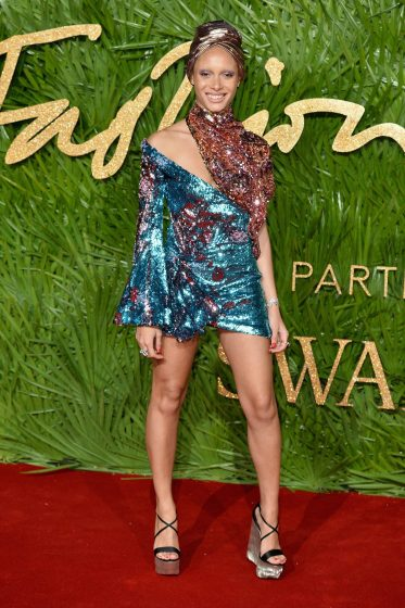 LONDON, ENGLAND - DECEMBER 04: Adwoa Aboah attends The Fashion Awards 2017 in partnership with Swarovski at Royal Albert Hall on December 4, 2017 in London, England. (Photo by Jeff Spicer/BFC/Getty Images)