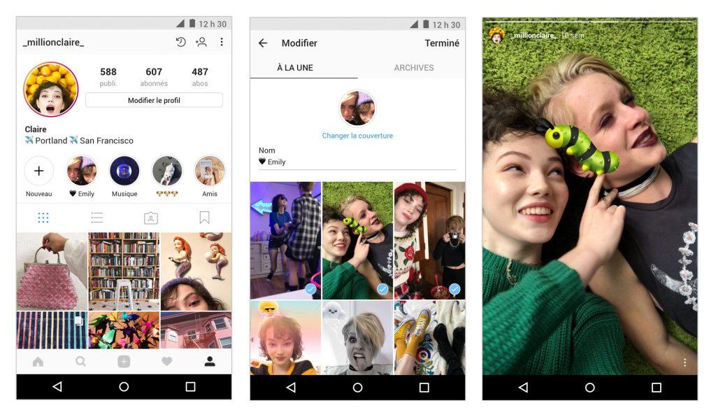Instagram lance les archives des Stories et les Stories à la une