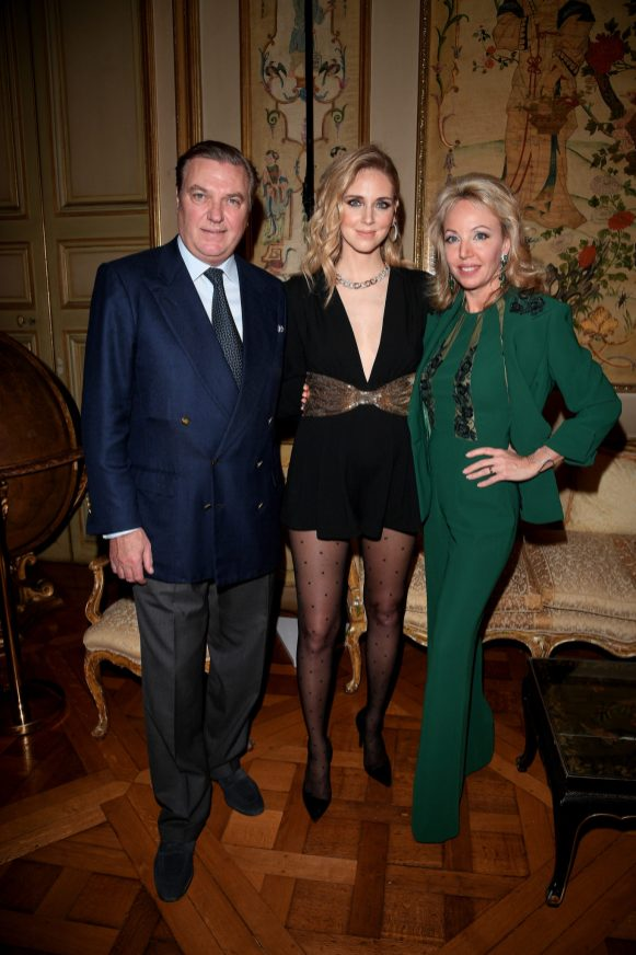 PARIS, FRANCE - JANUARY 24: Prince Carlo, Duke of Castro, Chiara Ferragni and Princess Camilla, Duchess of Castro attend the Cocktail & Dinner for the new Pomellato campaign launch with Chiara Ferragni as part of Paris Fashion Week during Haute-Couture Spring/Summer 2018 at Ambassade d'Italie on January 24, 2018 in Paris, France. (Photo by Venturelli/Getty Images for Pomellato)